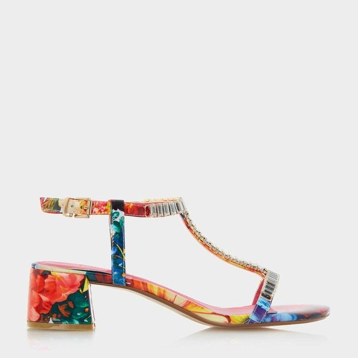 Sandales style salomé ornées de bijoux fantaisie à talons carrés - malie multicolore synthetic patent Dune London