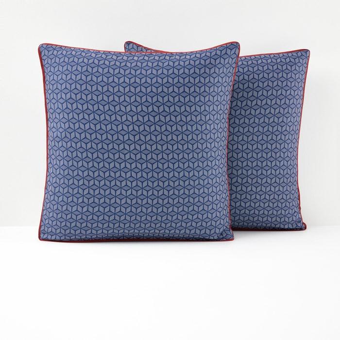 taie d oreiller en satin de coton bleu keitaki bleu rouge la redoute interieurs la redoute. Black Bedroom Furniture Sets. Home Design Ideas