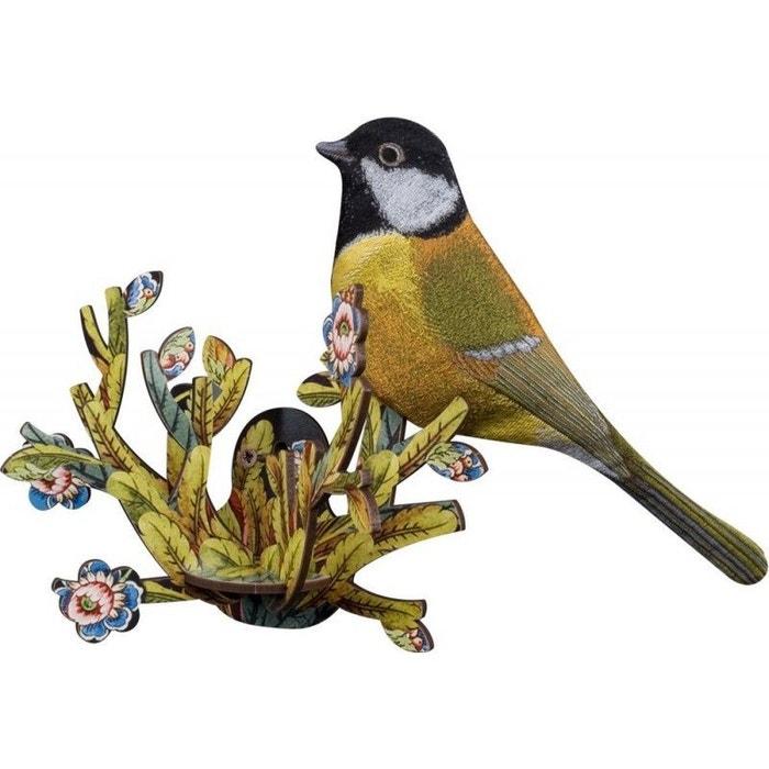 Oiseau décoratif mural bois mésange zoe jaune Miho | La Redoute on
