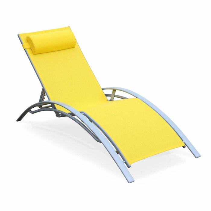 bain de soleil en aluminium et textil ne louisa jaune. Black Bedroom Furniture Sets. Home Design Ideas