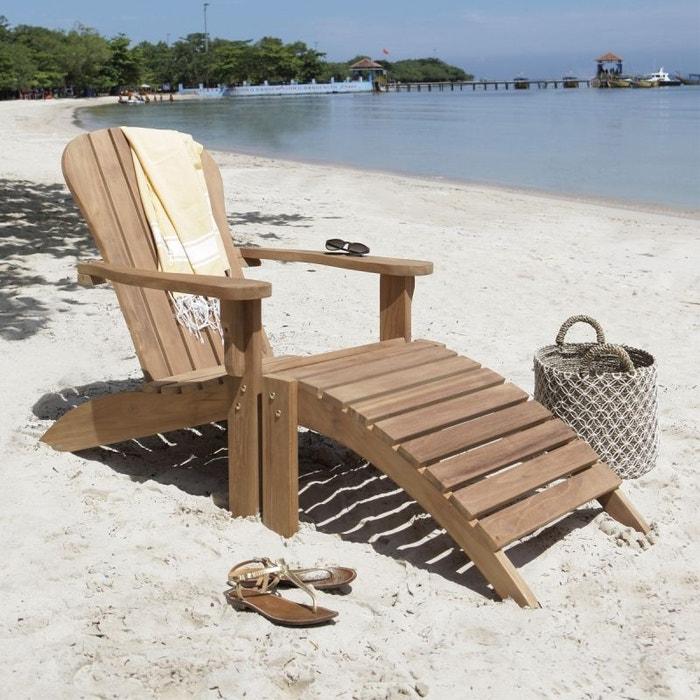 fauteuil de jardin en bois de teck avec repose pieds teck brut bois dessus bois dessous la redoute. Black Bedroom Furniture Sets. Home Design Ideas