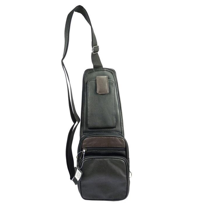 542099ccdf Sacoche pochette holster porté travers ambidextre bicolore cuir noir  Chaussmaro   La Redoute