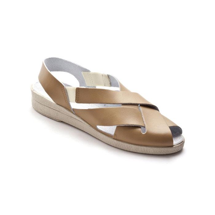 Sandales ultra-souples en cuir lisse, Marron Métallisé