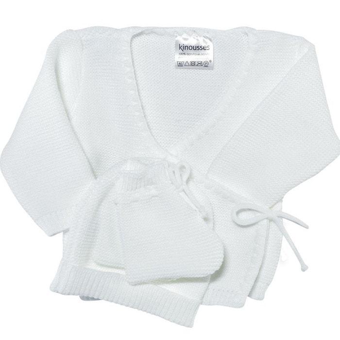 Ensemble 3 pièces mixte   brassière bébé, bonnet et chaussons blanc Les  Kinousses   La Redoute 2f126479a33