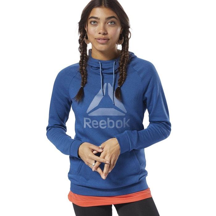 870300482d256 Sweat à capuche avec logo workout ready bleu Reebok Sport   La Redoute