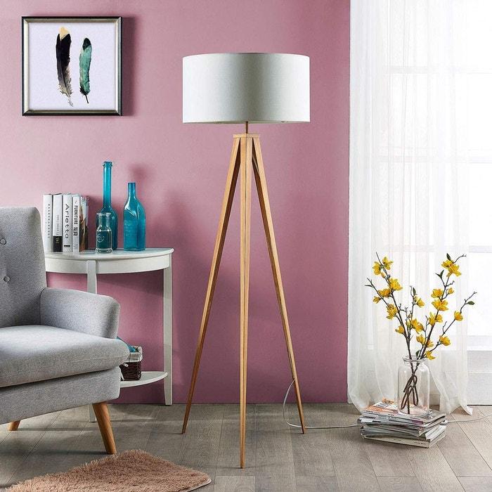 Lampadaire en textile moderne, benik blanc/bois Lampenwelt | La Redoute