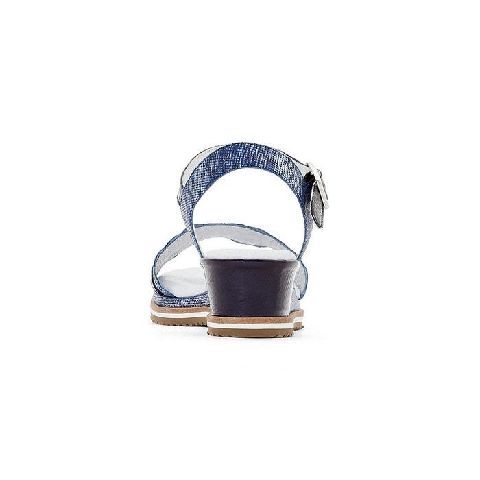 Sandales compensées cuir bleu marine Anne Weyburn
