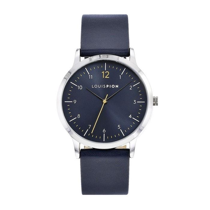 e90e092ad0 Montre analogique cuir romain bleu Louis Pion | La Redoute