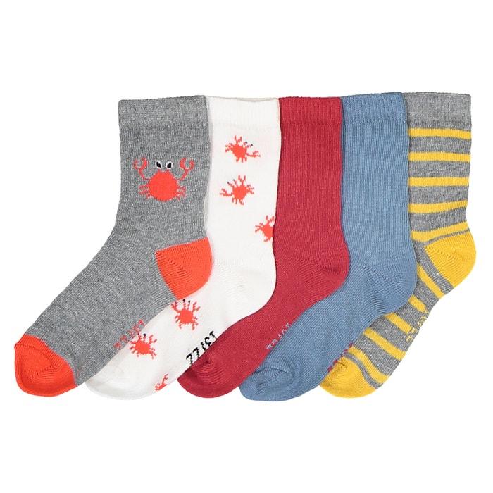 Confezione da 5 paia di calze tema granchio  La Redoute Collections image 0