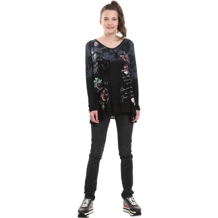 Camiseta larga estampado manga DESIGUAL y pico flores con de con cuello de 4wqUxUd0z