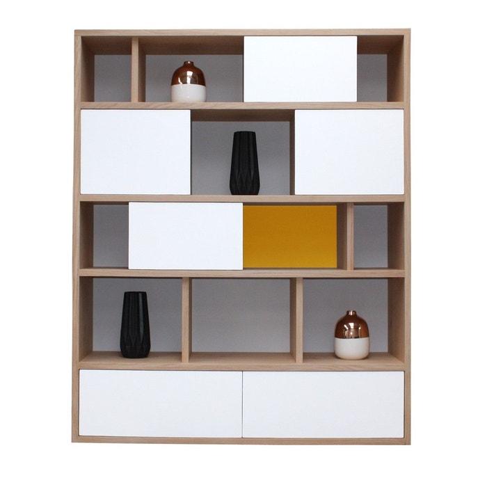 biblioth que en ch ne massif et laqu blanc et jaune curcuma blanc pirotais la redoute. Black Bedroom Furniture Sets. Home Design Ideas