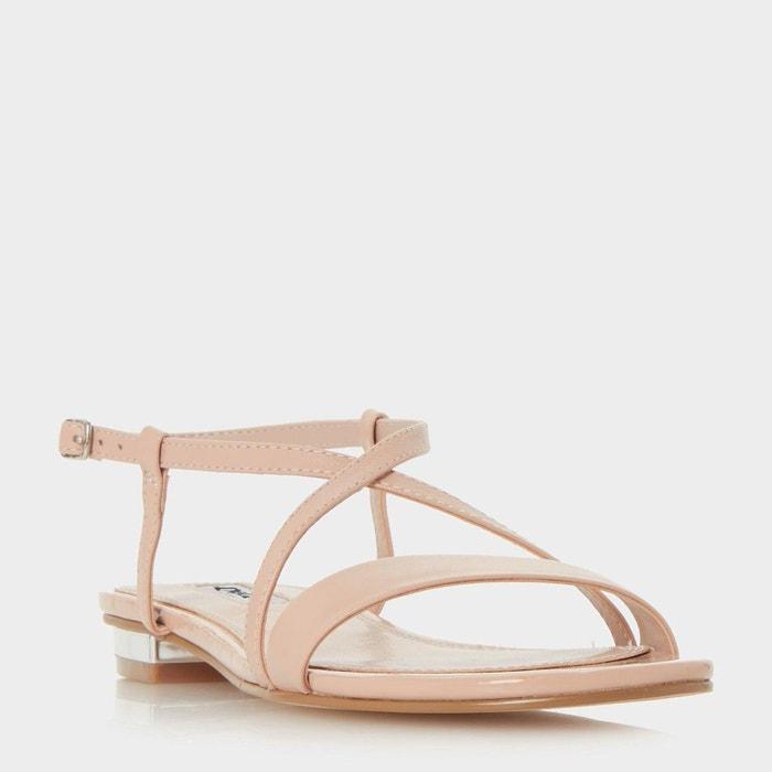 Sandales plates à brides croisées - nena  rose pâle cuir Dune London  La Redoute