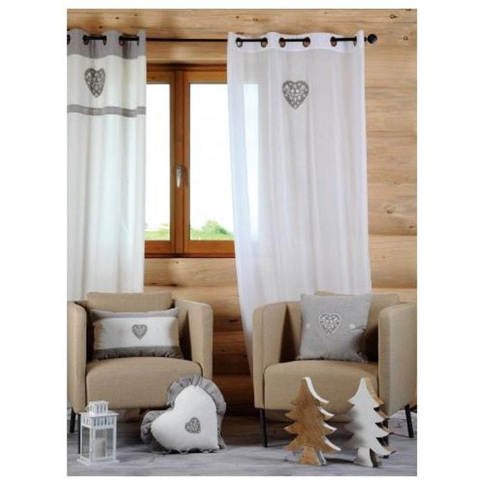 voilage uni en voile de coton avec coeur brod blanc home. Black Bedroom Furniture Sets. Home Design Ideas