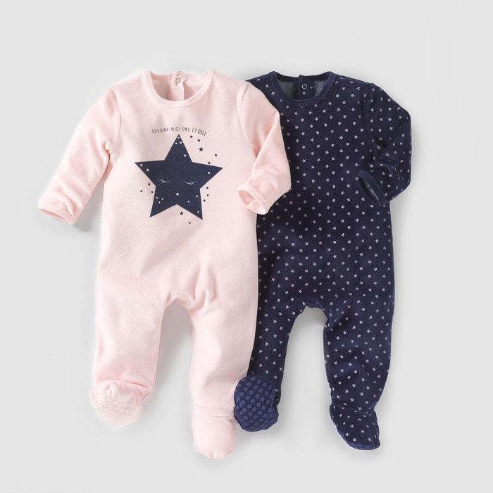 lot de 2 pyjamas velours 0 mois 3 ans bleu marine rose la redoute collections la redoute. Black Bedroom Furniture Sets. Home Design Ideas