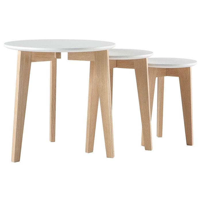 Tables Gigognes Design Laquees Mat Et Bois Naturel Lot De 3 Largo