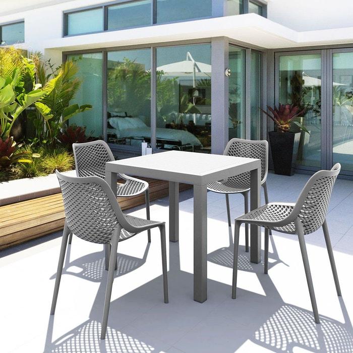 Salon de jardin en polypropylène gris 4 chaises et 1 table carrée ...