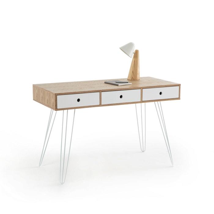 bureau 3 tiroirs biface la redoute interieurs blanc bois. Black Bedroom Furniture Sets. Home Design Ideas