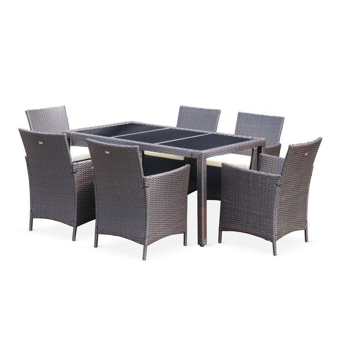 Salon de jardin Tavola 6 en résine tressée, table d\'extérieur 150cm avec 6  fauteuils