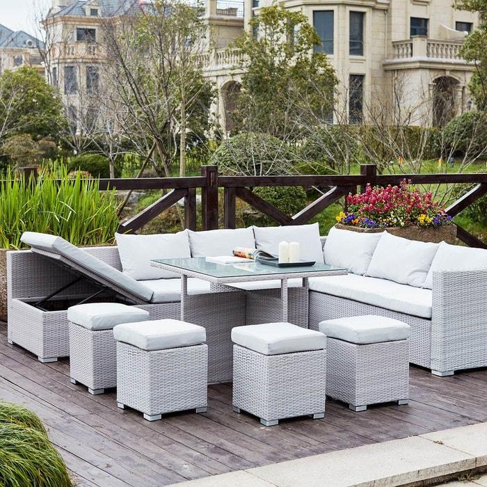 Fidji gris blanc salon de jardin encastrable en r sine - La redoute table de jardin en resine tressee ...