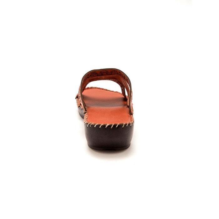 Mules en cuir, grande largeur, à aérosemelle® Pediconfort