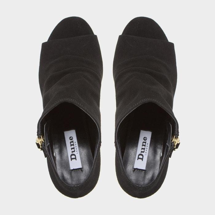 Bottines peep toe à zip latéral - isabela noir cuir Dune London
