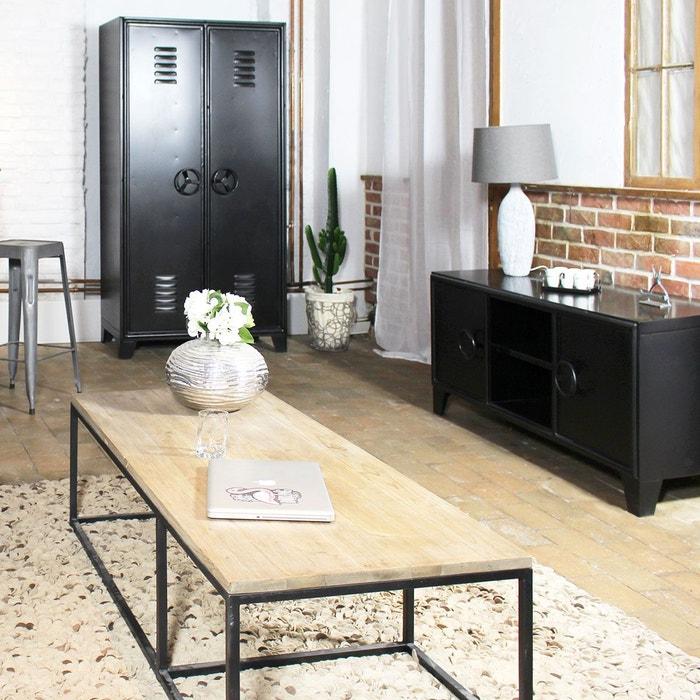 meuble tv industriel m tal noir 2 niches 2 portes gl04 1801 0 noir made in meubles la redoute. Black Bedroom Furniture Sets. Home Design Ideas