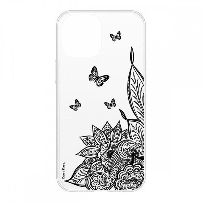 Coque pour iPhone 12 Pro (6,1) souple Mandala Fleur et Papillon noir