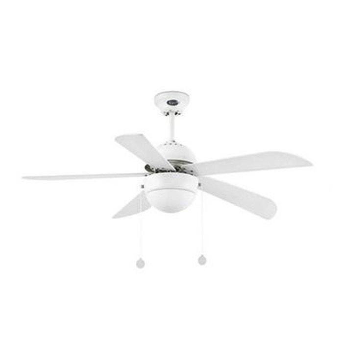 Ventilateur plafond avec lampe diam 106 cm blanc 5 pales
