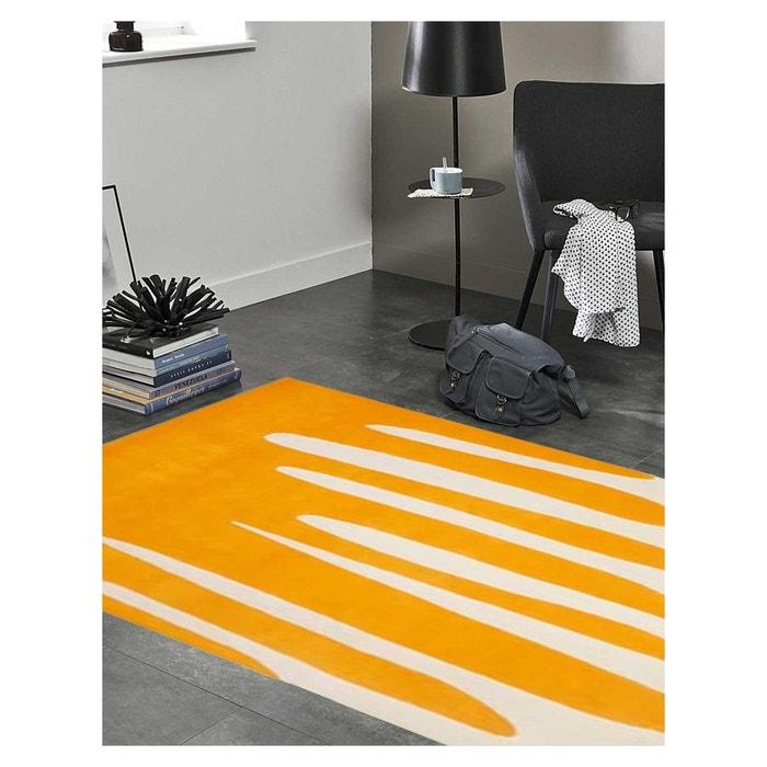 Tapis de salon moderne design java - laine orange Bizarre Concept ...