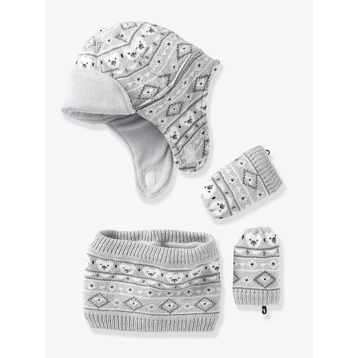 Bonnet + snood + moufles bébé tricot doublés polaire gris clair chiné  Vertbaudet   La Redoute db46a124a99