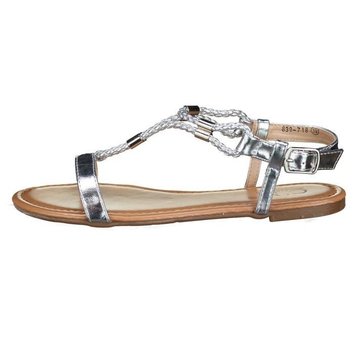 Sandales à tresses gris Leader Mode