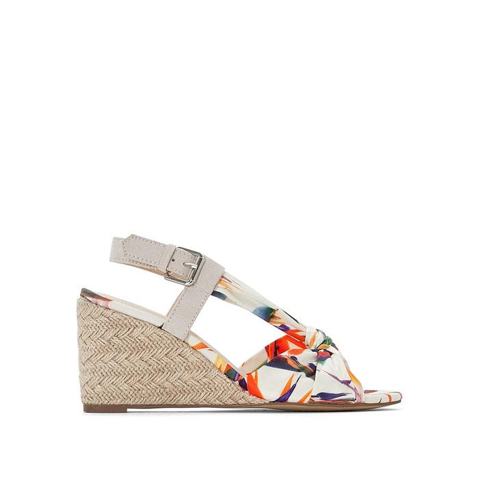306f2e196 Sandalias con tacón de cuña y tejido estampado multicolor blanco La Redoute  Collections