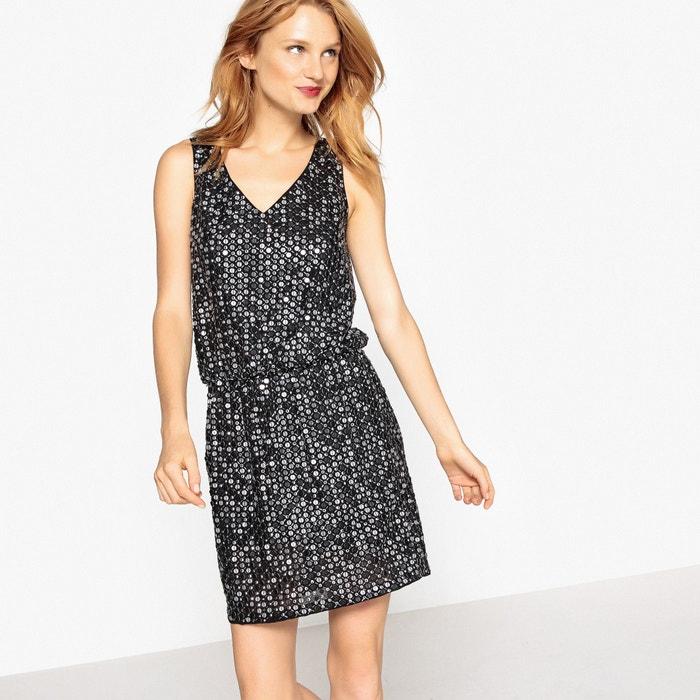 Платье короткое с блестками, глубокий вырез спереди и сзади