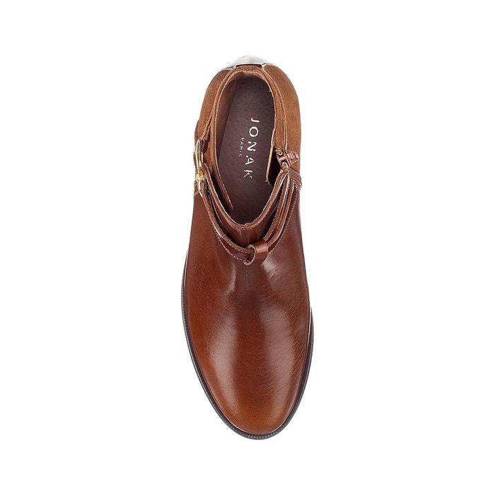 Boots plates zippées cuir, dilling Jonak