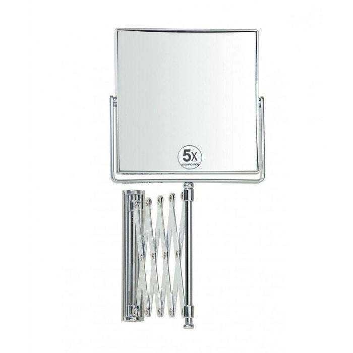 miroir grossissant x5 mural carr sur bras extensible gris wadiga la redoute. Black Bedroom Furniture Sets. Home Design Ideas