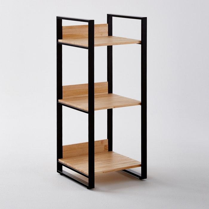 Estanter a de pino laminado y metal con 3 estantes hiba - Estanteria de pino ...
