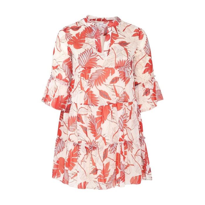 Robe Tunique Imprime Feuilles Et Rayures En Fil Textile Col Mao Manches 3 4 Orange Paprika La Redoute