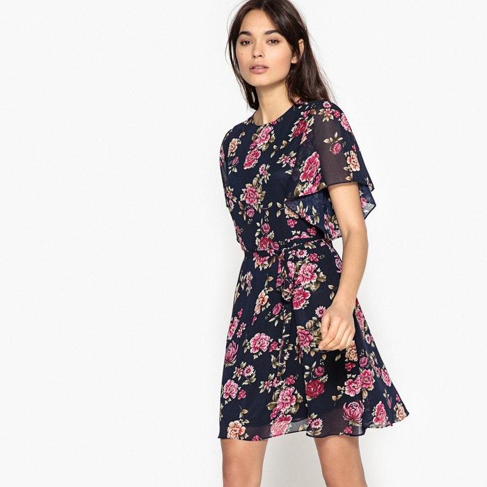 Short Floral Print Flared Skater Dress  BEST MOUNTAIN image 0