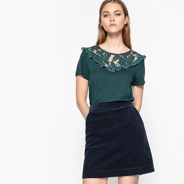 Lace Detail Crew Neck T-Shirt  La Redoute Collections image 0