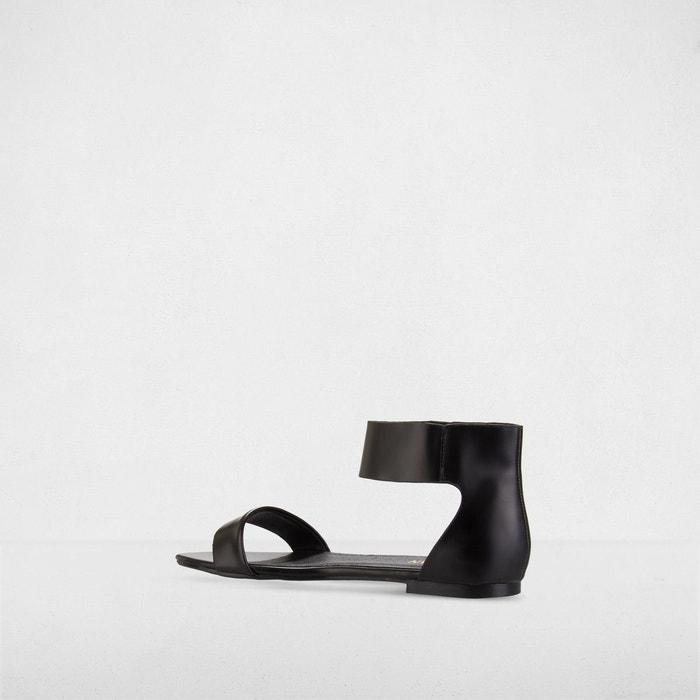 Sandales plates à boucle dorée noir Morgan