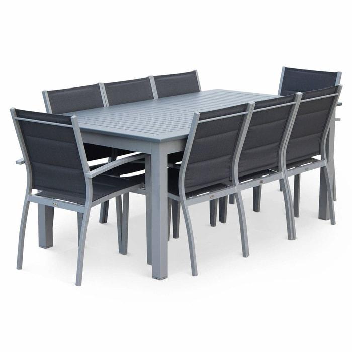 Salon de jardin chicago 8 places table à rallonge extensible 175 ...