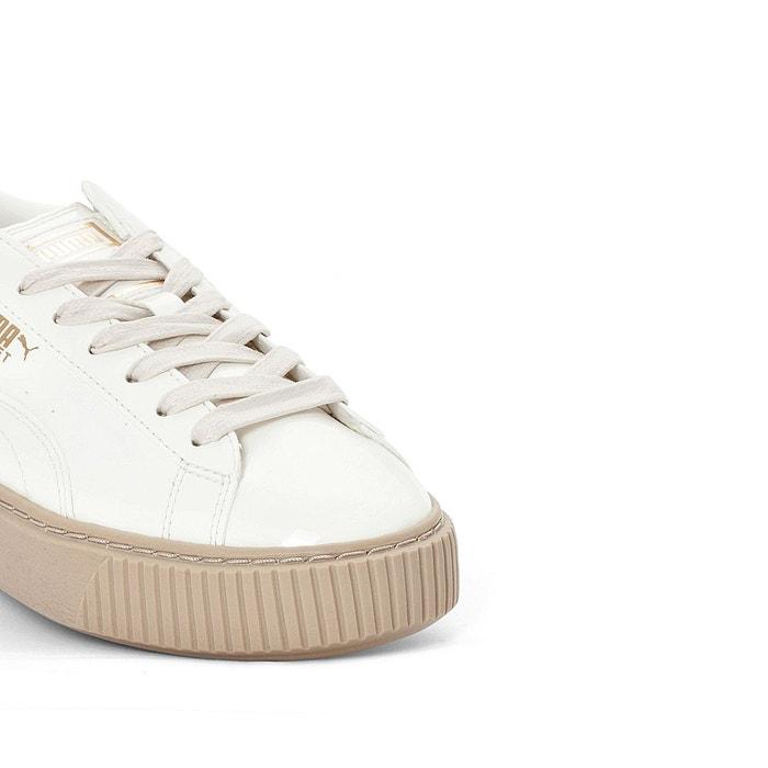 Baskets compensées platform patent blanc Puma