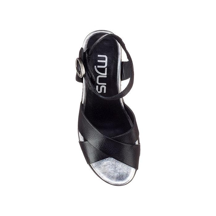 Sandales compensées, cuir, loca argent/noir Mjus