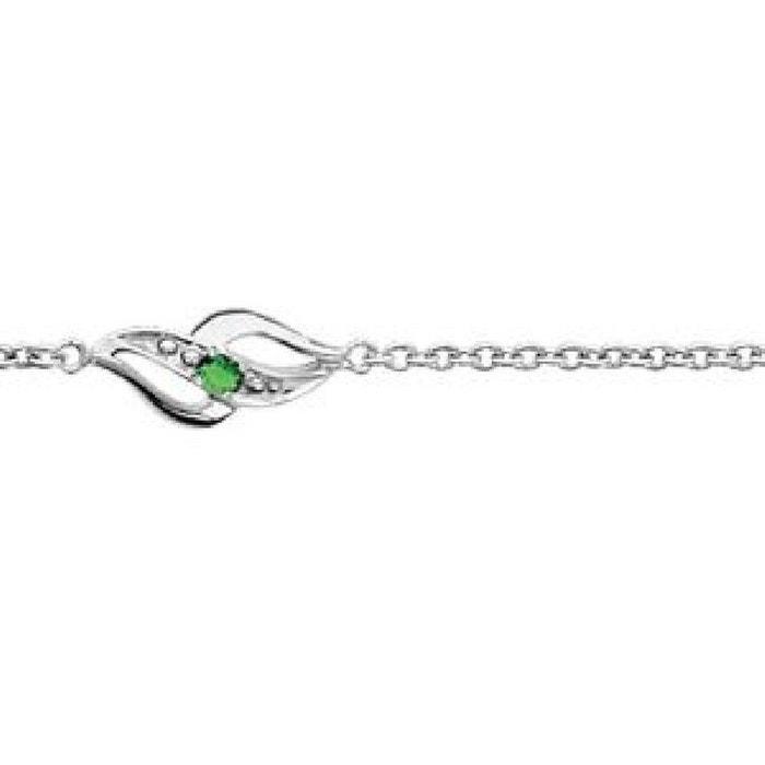 Style De Mode Rabais Sortie Livraison Rapide Bracelet femme & enfant longueur réglable: 16 à 19 cm chaîne 3 motifs vagues oxyde de zirconium vert argent 925 couleur unique So Chic Bijoux | La Redoute WD5vw