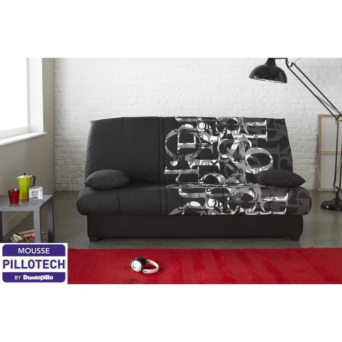 banquette lit clic clac edwin matelas mousse pillotech by dunlopillo randy noir relaxima. Black Bedroom Furniture Sets. Home Design Ideas