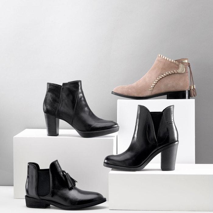 Boots cuir magolia noir Les Tropeziennes Par M Belarbi