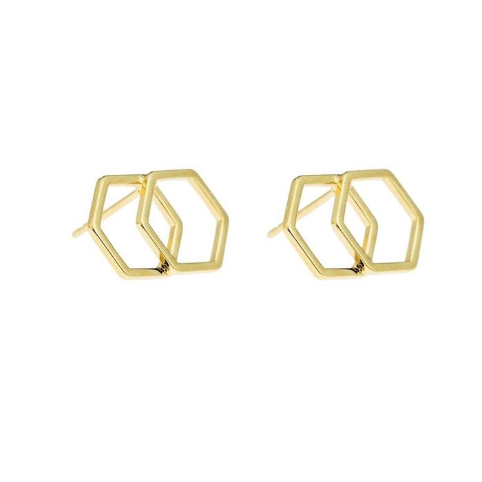 Boucles d'oreille Hexagone Double