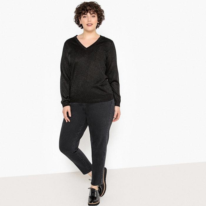 ba11b6a8370b6 Fine knit sparkle jumper sweater shimmering black CASTALUNA PLUS SIZE