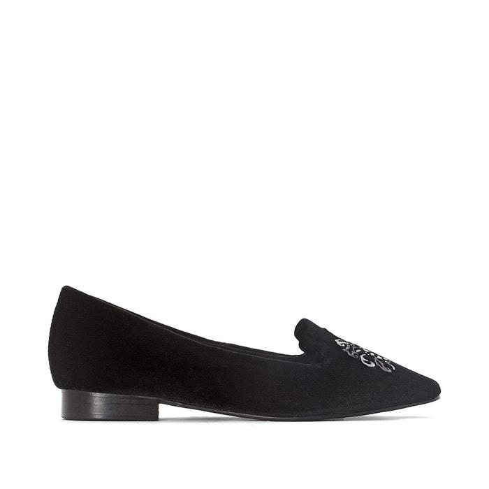 Slippers détail broderies noir La Redoute Collections