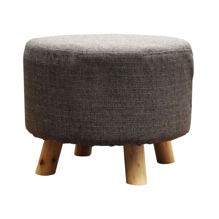 pouf rond tissu couleur greige pieds bois greige pier import la redoute. Black Bedroom Furniture Sets. Home Design Ideas